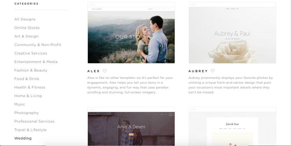 In the  sample site  I've created I am using the template Hatch, which is not actually considered a wedding template, but looks great and has all of the functionality you'll need.
