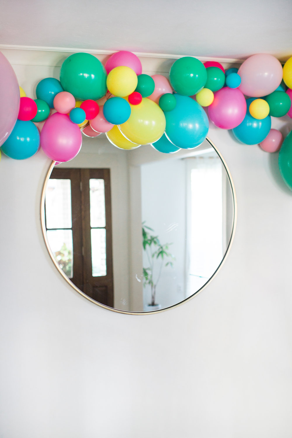 birthday party balloon swag     photo:  heather hawkins photography