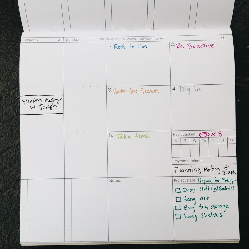 Pace & Pattern: Weekly planner intents and goals