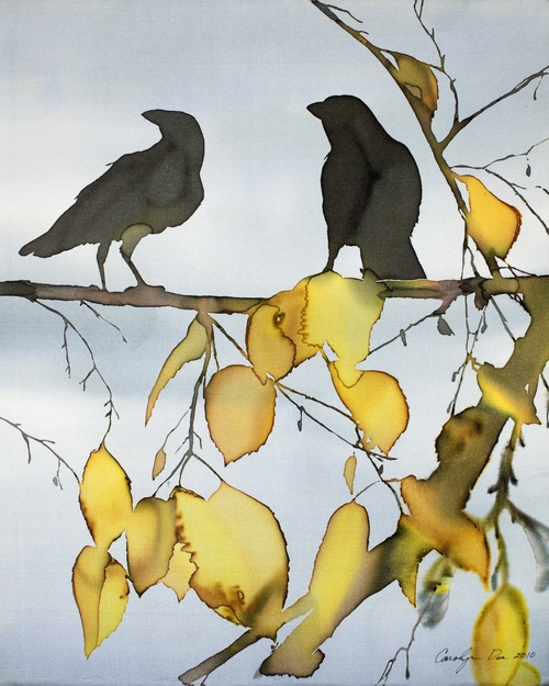 Two Ravens in Yellow Birch  Order an archival print from my Etsy shop