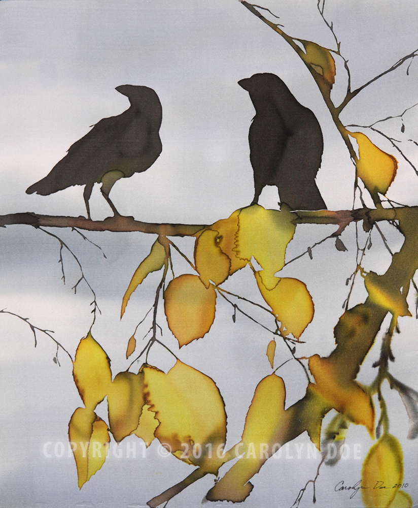 Two Ravens in Yellow Birch