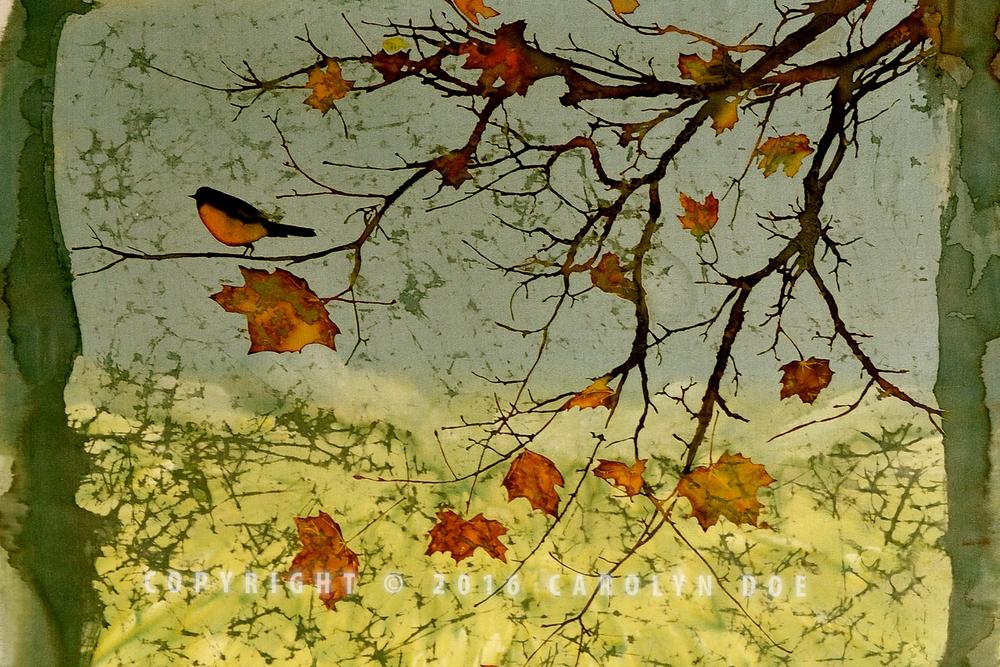 Batik Bird and Fall Leaves