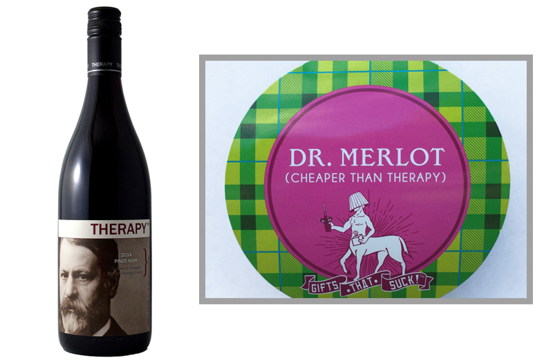 "4.  Therapy  from  kenastonwine.com   |  Pairs with straw   ""Dr. Merlot""      The doctor will see you now."