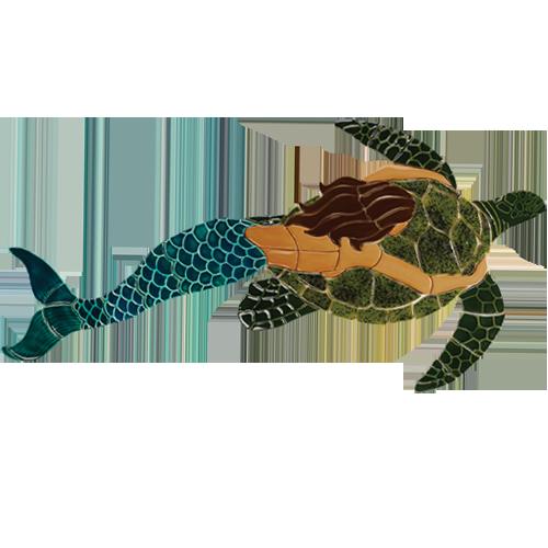 Mermaid with Turtle (Brown)
