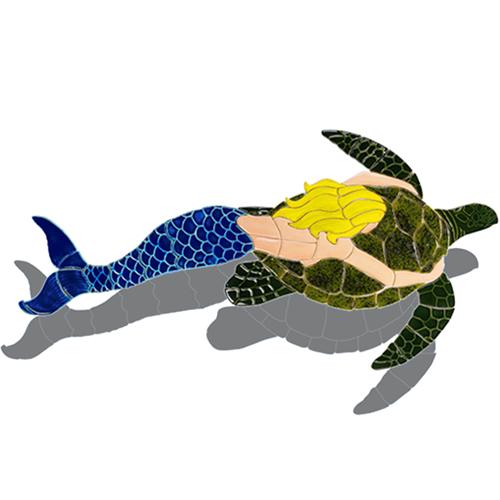 Mermaid with Turtle (Blonde) w/sh