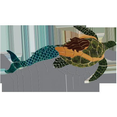 Mermaid with Turtle (Brown) w/sh