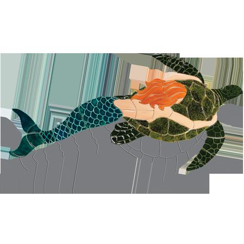 Mermaid with Turtle w/sh