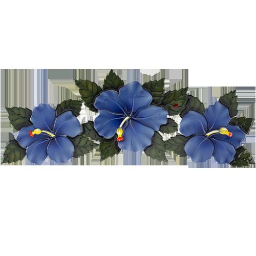 Triple Hibiscus (Blue)