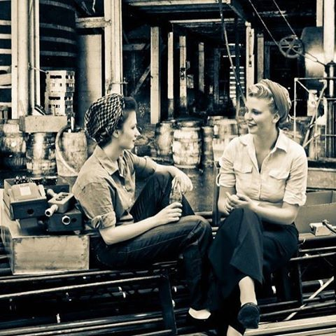 Back in the factory and excited about the work to come! 🇺🇸 #factorygirls #prized #prizedusa #madeinamerica #1940s #feminists #ofcourseican #wecandoit
