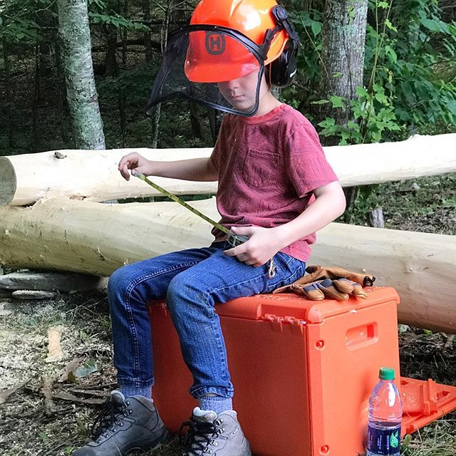 This little snapshot was taken on the first day of our new shed build and sums up our week rather well. ⠀ .⠀ Everyone spent the better part of every day up in the field, sawing, pulling, lifting, drilling, and nailing. We are building using timber harvested from our woods. This picture was taken when the locust sill was completed and we began selecting poplars for the uprights. ⠀ .⠀ The largest locust was sawn in the same spot the shed is being built and David and dad even incorporated the stump into the foundation!⠀ .⠀ We really enjoyed this change from pushing pixels to slinging sawdust!!⠀ .⠀ But now all the fun is over and we have begun the track back to the city. But first @hikingpisgah and the boys are squeezing in a hike before this last leg of the trip.⠀ .⠀ Hope you are all enjoying your weekend!⠀ .⠀ .⠀ .⠀ TAGS:  #husqvarnafan #828isgreat #beechcreek #poleshed #buildsomething #workwithyourhands #graphicdesignerlife #workcation #familyadventures #ncmountains #themountainsarecalling #lifeexperiences #manliness #madeintheusa #entrepreneurlife #hardwork #honestdesigners #optoutside #startup #charlottenetworking #mobsociety #homeschooldad #wearethecreativeeconomy #workhardplayharder #ncadventures #welovenc #charlottegraphicdesign #createlocal #cltlocal #charlottedesigner
