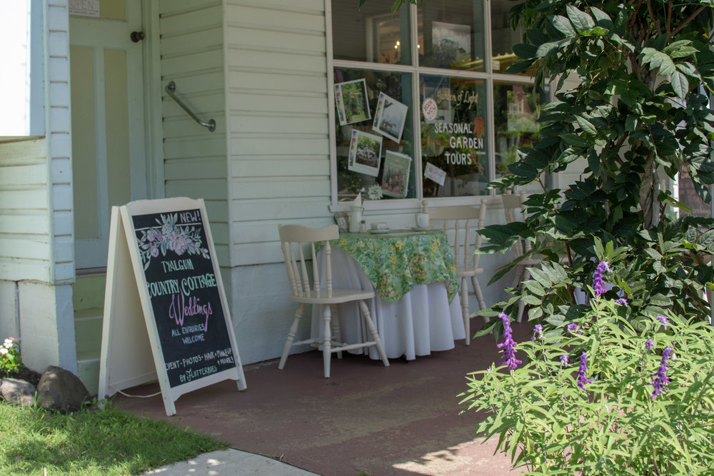 The Garden of Light Shop spills out onto the front footpath of Flutterbies with seedlings of lavender, mint, gerbera, cyclamen and other seasonal produce available to buy year round.