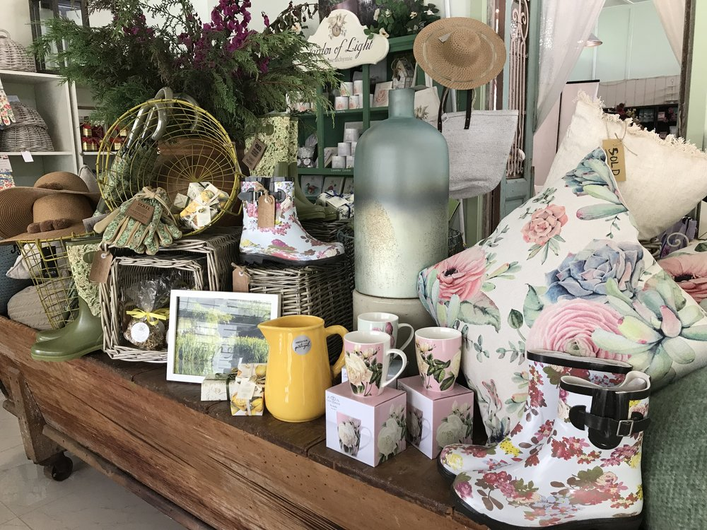 William Morris Gumboots, umbrellas, gardening gloves, outdoor cushions, jugs and mugs and vases, summer hats and gardening baskets are all a part of the gift ideas available in store.