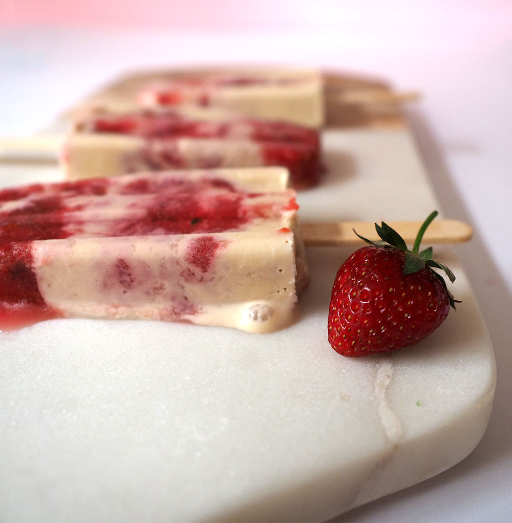 Plum Cream Popsicles with Strawberry and Thyme, Teahaus - Beginning with Bergamot