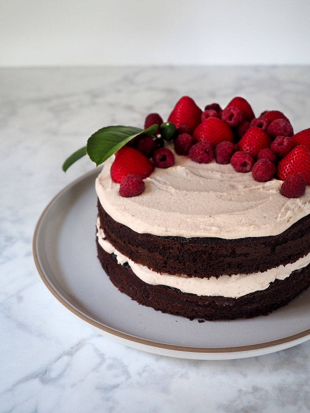 Chocolate Cake with Tea-Infused Berry Frosting - Beginning with Bergamot