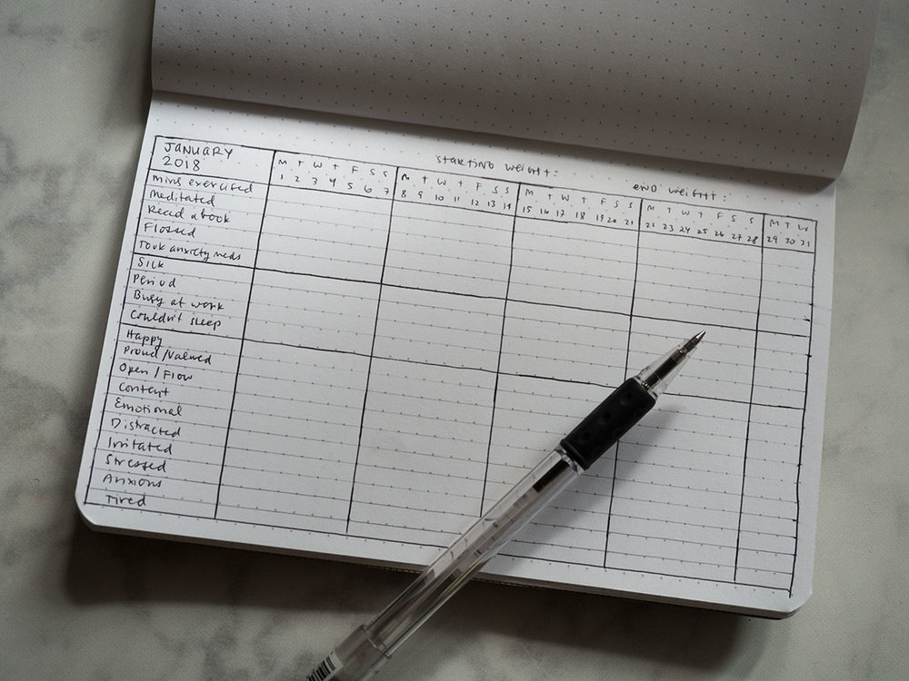 Learn how to start an easy 5 Minute Habit & Mood Journal to track your mental and physical health goals in 2018.