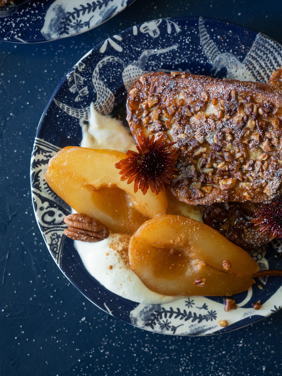 This crispy pecan-crusted french toast is topped with Earl Grey tea poached pears for the perfect indulgent weekend breakfast.