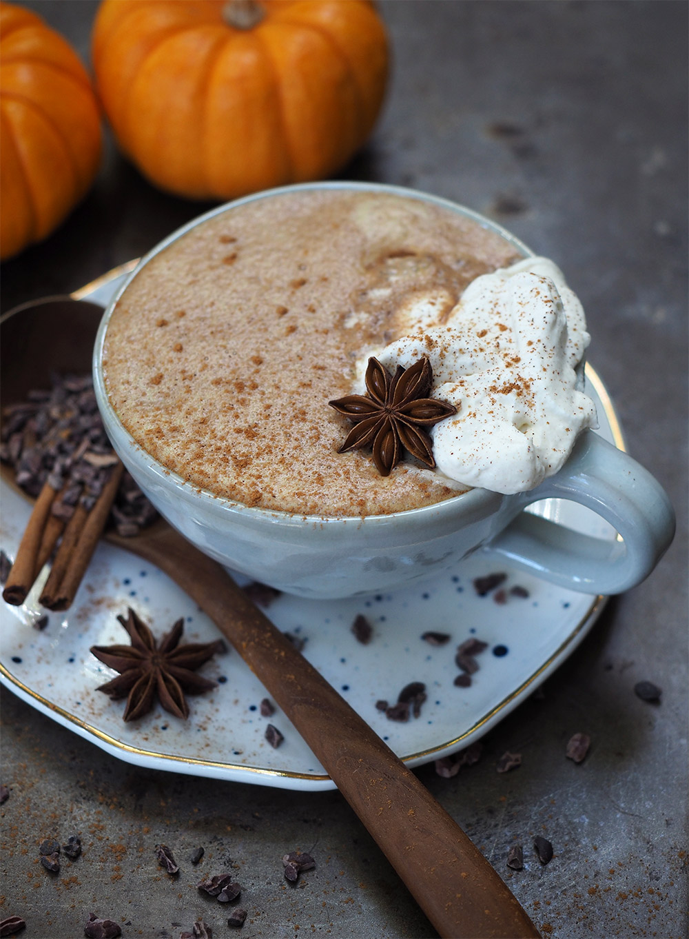 This unique twist on a chai tea latte adds in pumpkin puree and cacao powder for a super indulgent and cozy fall breakfast drink.