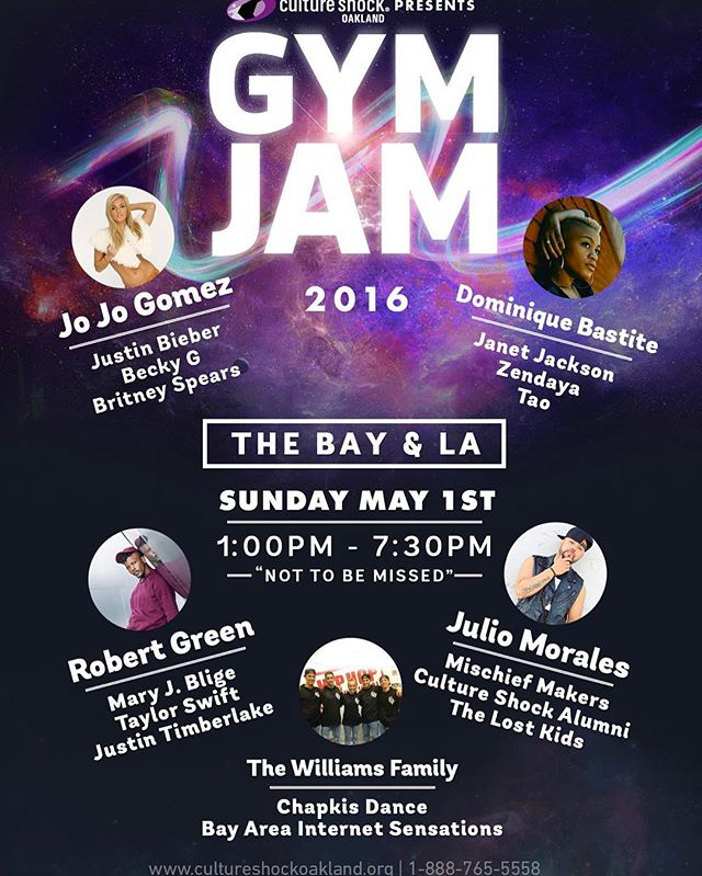 Culture Shock Oakland presents #GymJam workshop Sunday May 1st. We have an insane line up! You don't wanna miss out! Register now at cultureshockoakland.org/gymjam @db_yumyum @staronstage @jojogomezxo @itsjuliomorales @thewilliamsfam_