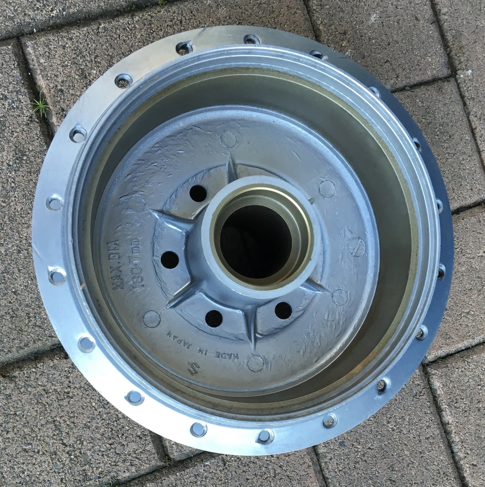 rear hub with steel brake lining