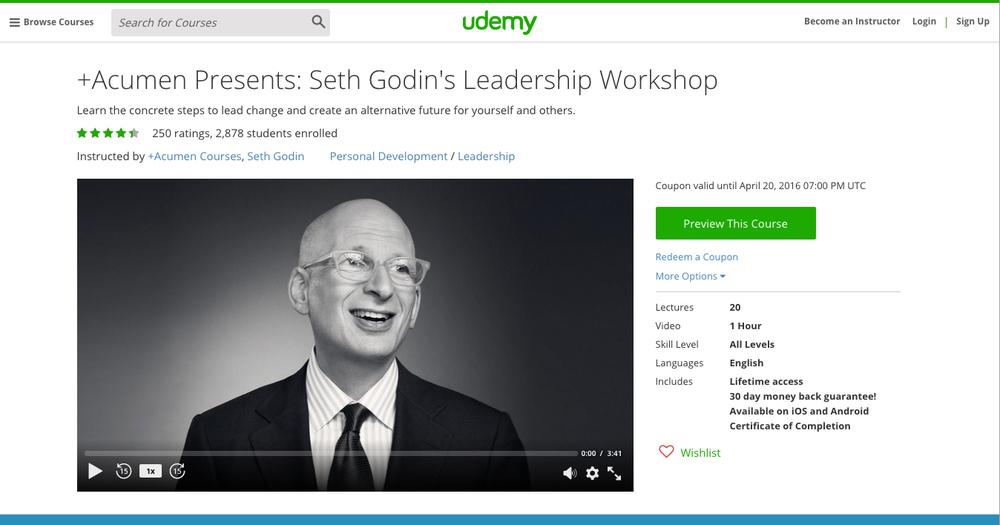 +Acumen Presents: Seth Godin's Leadership Workshop on Udemy