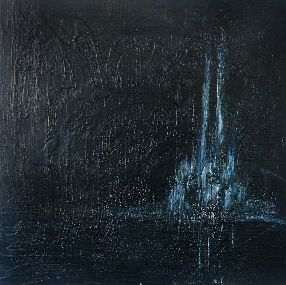"Zone of Weakness  $1400, Encaustic, ink on Wood Panel, 36""x36""x2.5"""