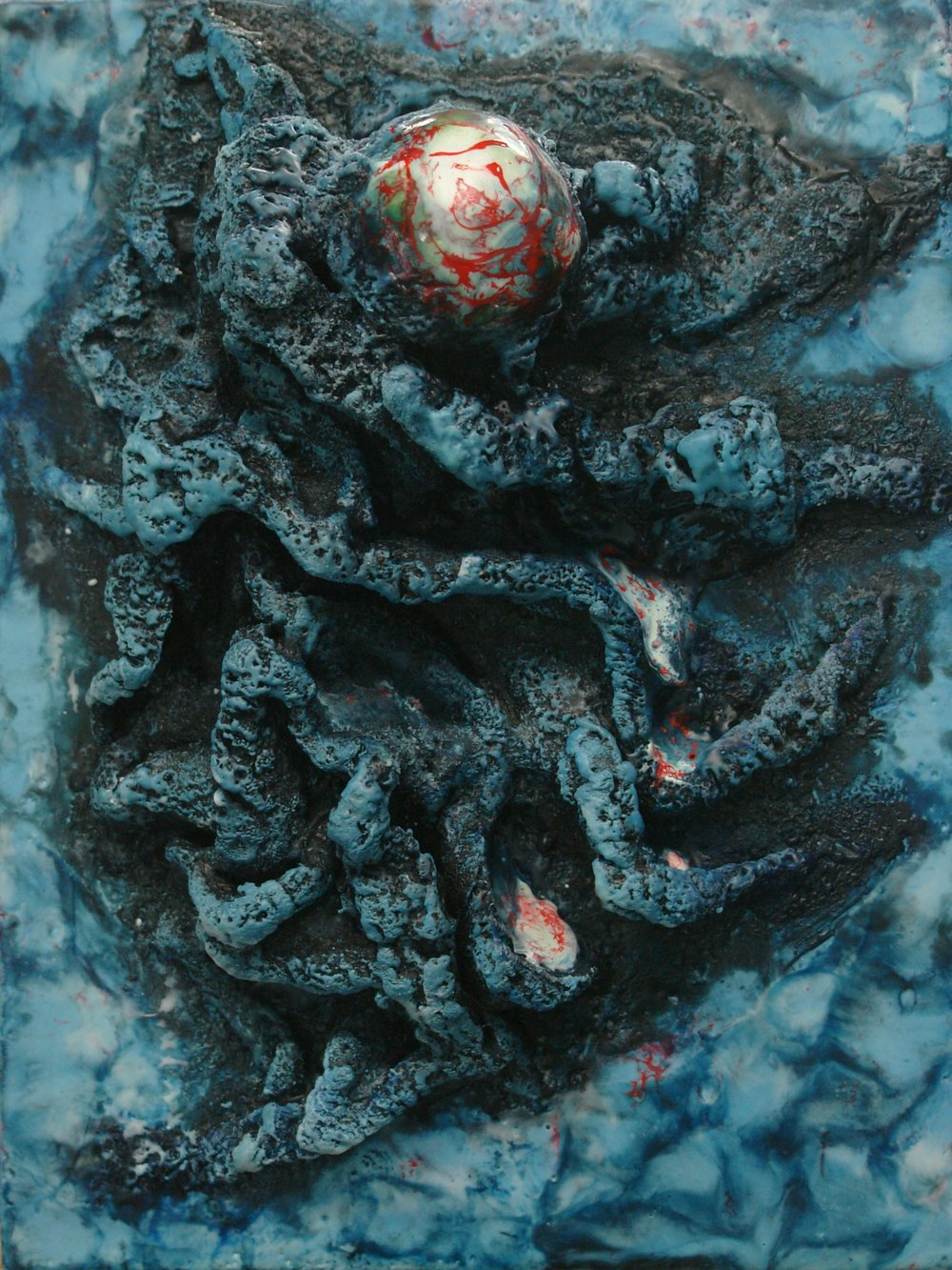 "Orogeny  $125, Encaustic, fabric, glass, ink on wood panel, 12""x9""x3"""
