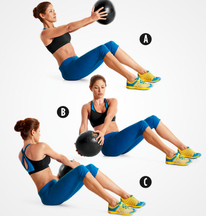 Oblique Twist or Russian Twist image from woman health mag.com