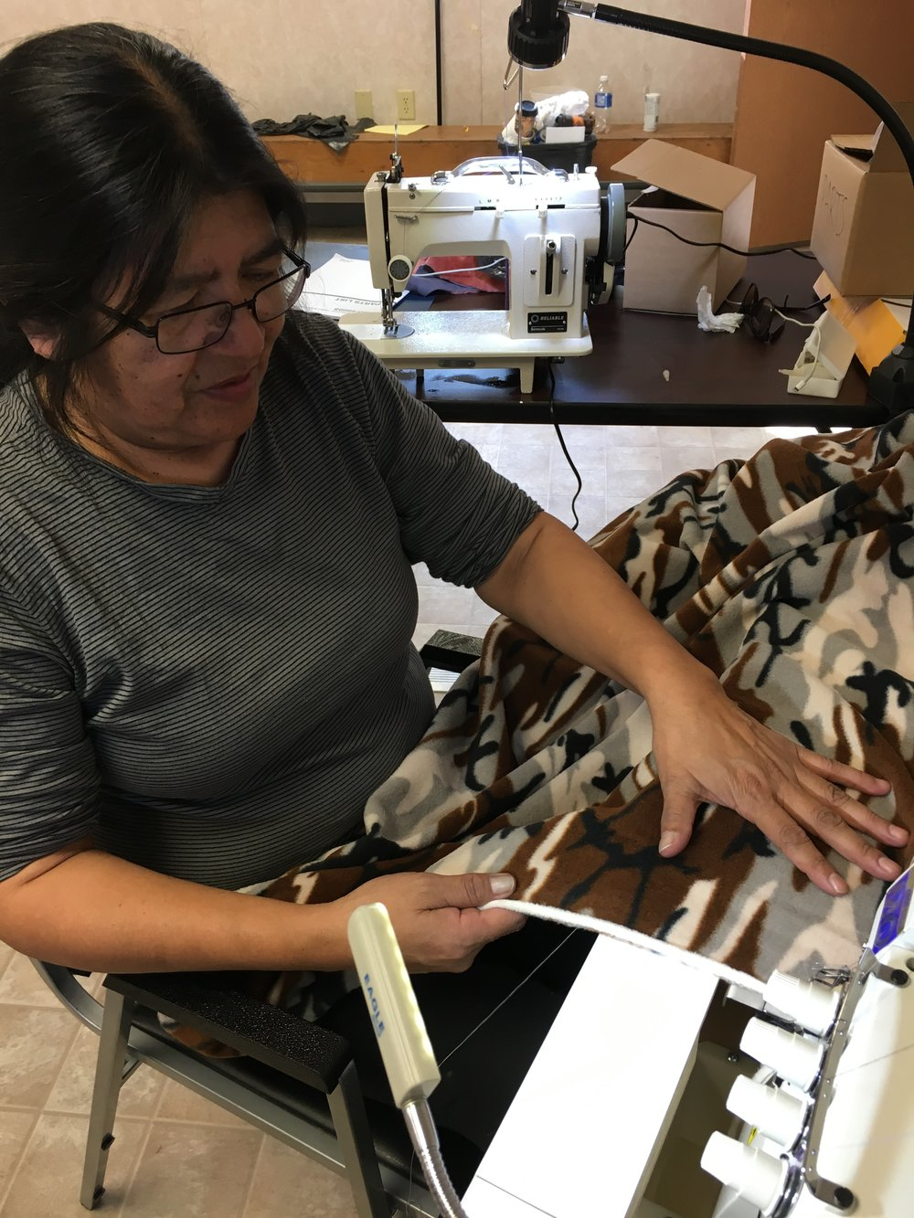 Daisy Slipperjack was frightened to use the machines, but overcame her fear and she will now help others to learn how to use this brand new Juki 4 Thread Serger. Go Daisy!