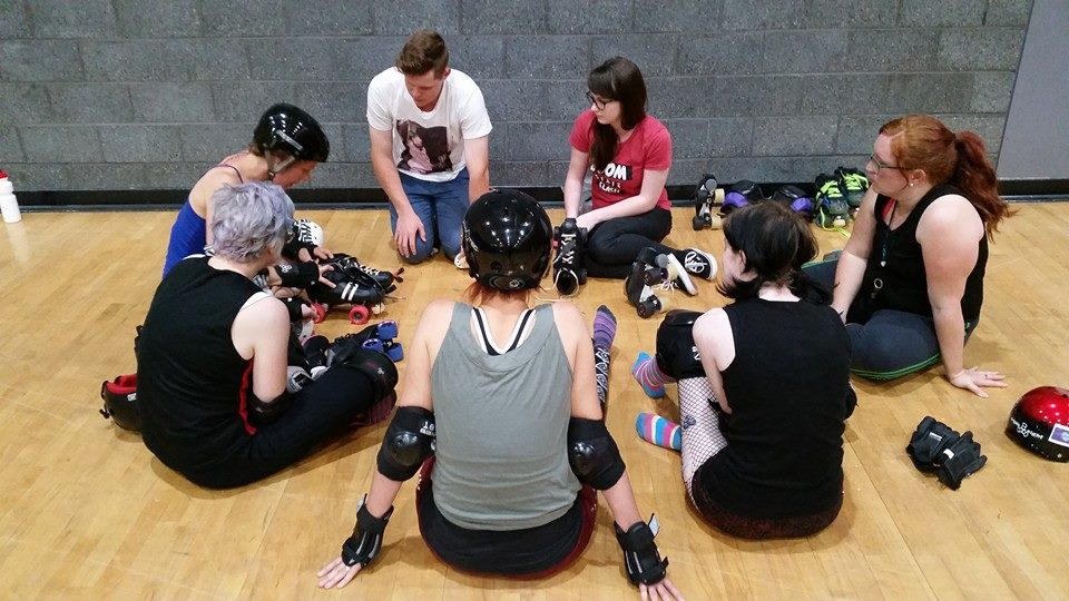 New skaters getting the skinny on skate maintenance from our own skate doctor, Slim Hazy.