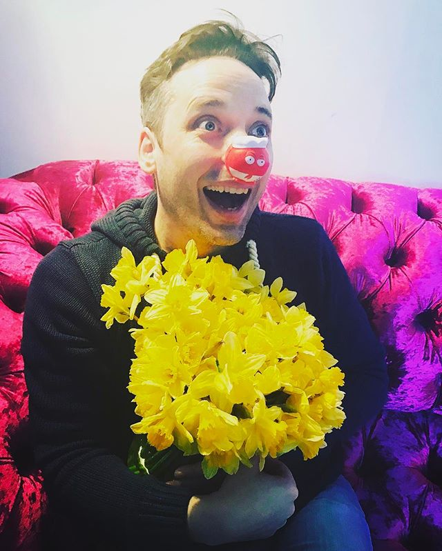 Just look! #rednoseday2017🔴 and the generosity of all our friends in liking his miserable, miserly face has turned Daniel into a unicorn-loving Prince of Happiness!  Look at the kindness you've produced! Thank you, thank you. It won't last long but at least it's raised £100 for #comicrelief2017 #comicrelief