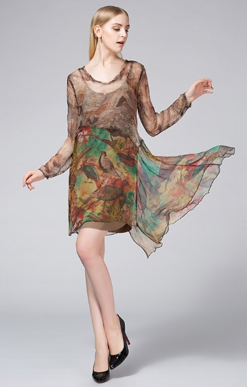 FP-352 Layer print silk dress