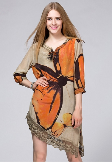 FP-350 Butterfly print silk dress