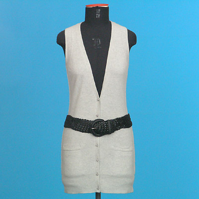 FP 51A/B Sleeveless long cardigan + Leather Belt