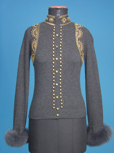 FP-257 Cardigan with fur and heavy beading