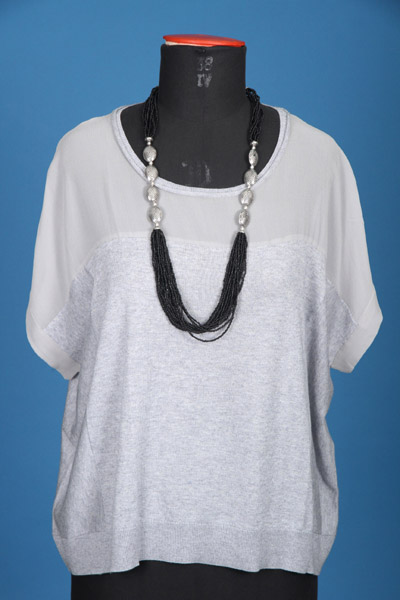 FP-293A/B Woven & knit pullover + necklace