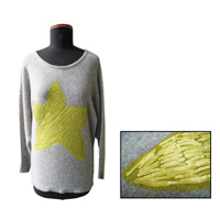 FP-323 Wool/cashmere  print and beading