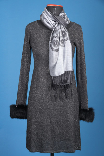FP-271 Lurex cardigan with rabbit fur décor