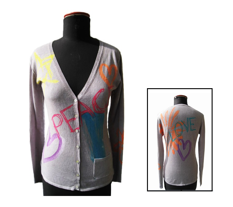 FP-303 Ladies print cardigan