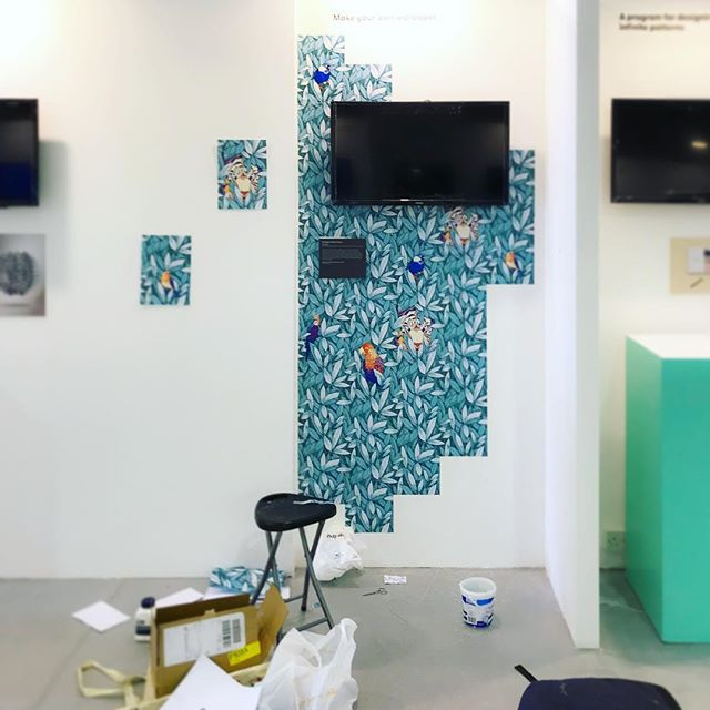 Exhibition space starting to take shape. This week the Pattern Printer Project are a part of the Global Grad Show in Dubai! @globalgradshow @dubaidesignweek #ggs2017 #patternprinterproject