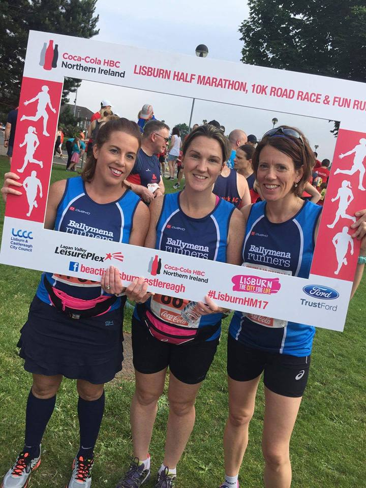 Helen McCormack, Geraldine McClintock and Lynne McFetridge before the Lisburn Half Marathon