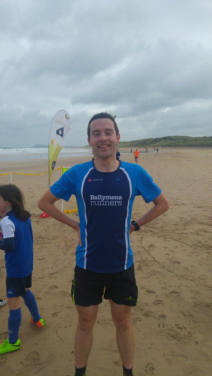 Jason Wilson on the beach at Portrush parkrun