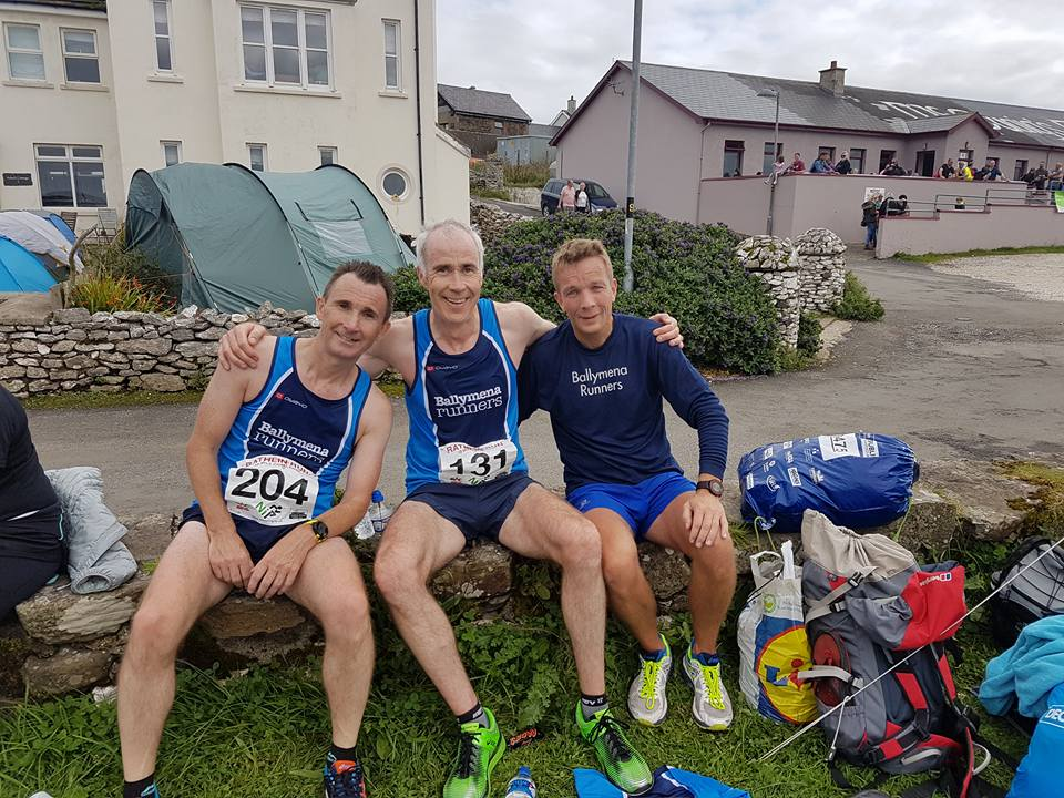 Rodney Agnew, John Hasson and Mark Alexander - first three Ballymena finishers at Rathlin