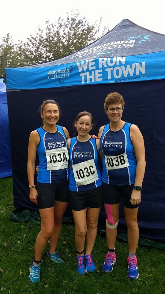 Judith Worthington, Sinead Scullion and Alison Foster at the NI Road Relay Championships
