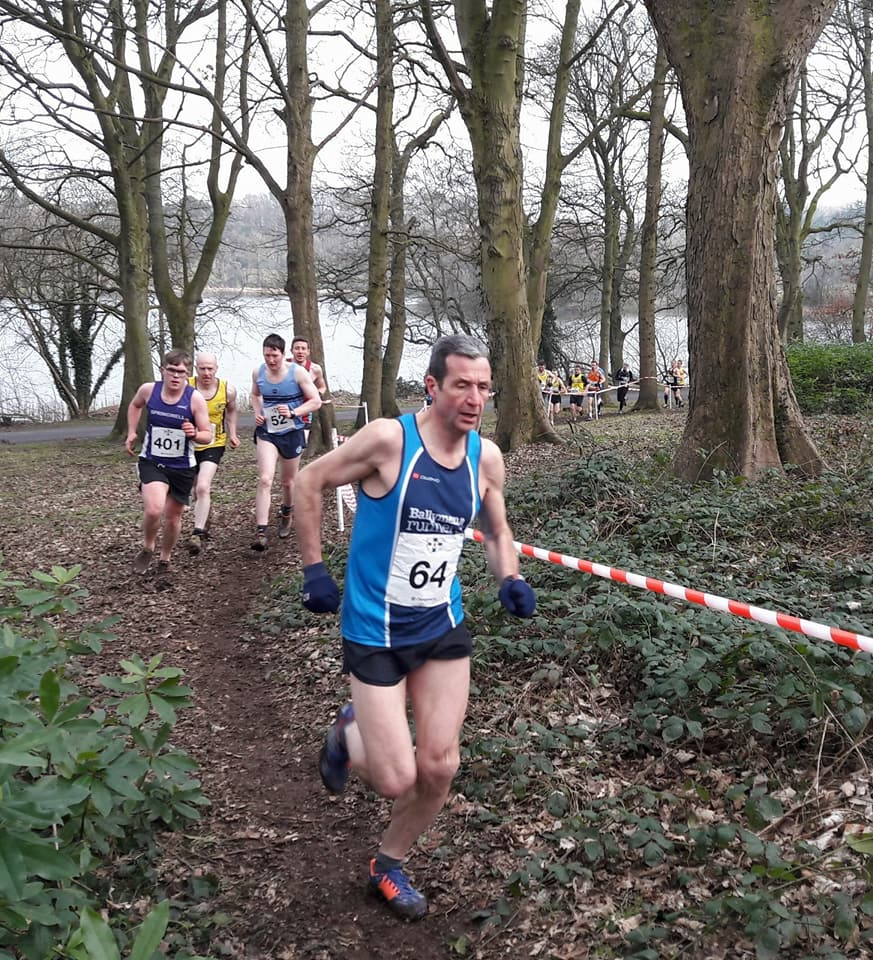 Noel Connor leads the Ballymena Runners charge in Lurgan Park