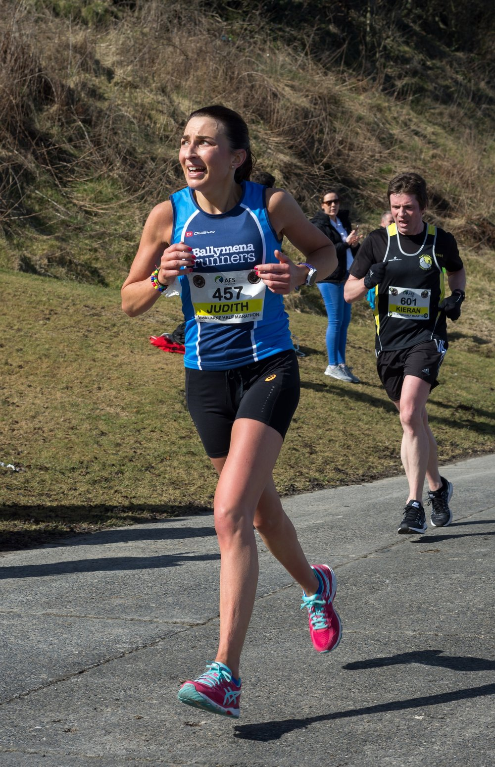 Judith Brown nearing the finish line in Larne