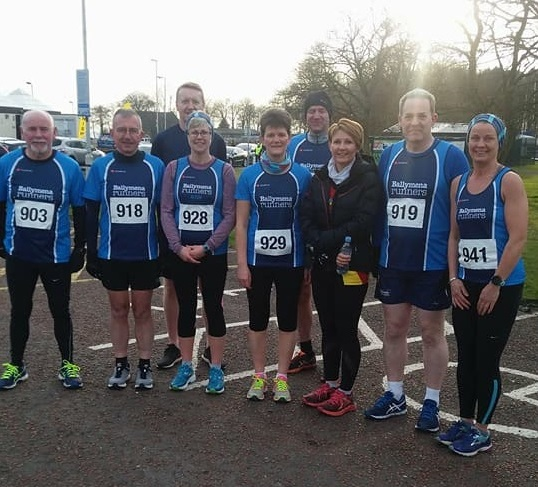 Ballymena Runners ahead of the Antrim Primary School 5-mile Run