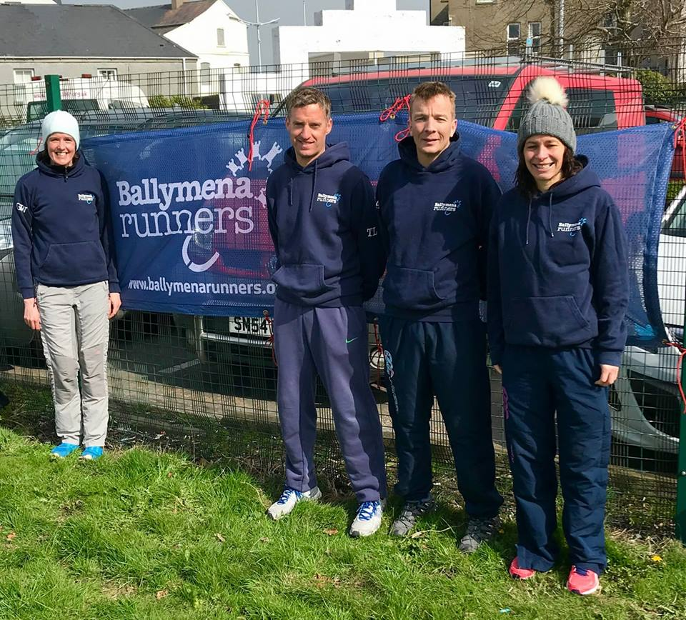 Gillian Wasson, Tim Lowry, Mark Alexander and Ruth Aiken prepare to tackle the Mourne Highline Mountain Race