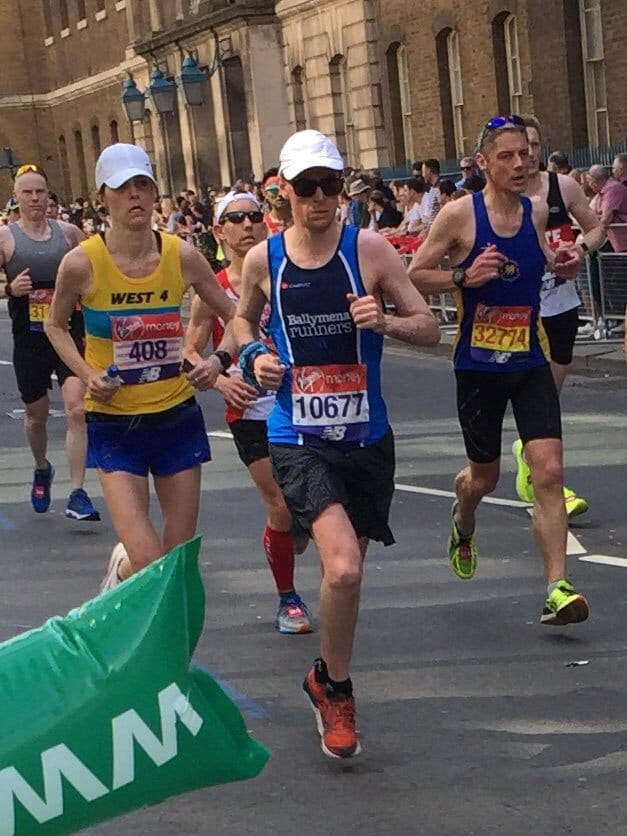 Connor Reid on his way to a sub-3 finish at the London Marathon