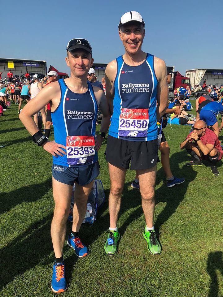 Rodney Agnew (#25393) and John Hasson (#25450) ahead of the London Marathon
