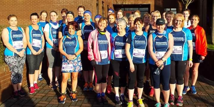 Ballymena Runners line up before the Purple Ladies event